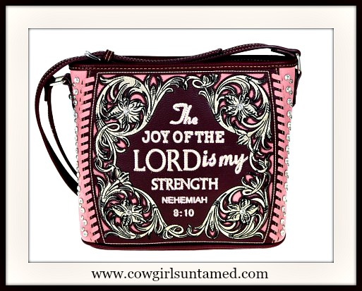 MONTANA WEST HANDBAG Bible Verse Rhinestone Studded Burgundy Tooled Leather Handbag