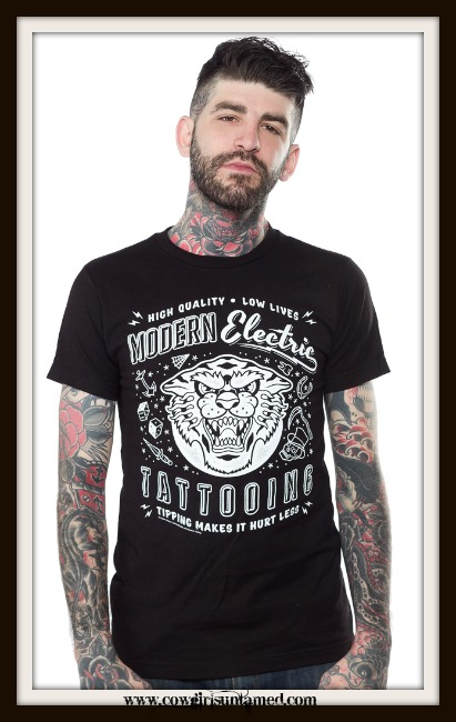 "COWBOY STYLE TEE ""Modern Electric Tattooing"" Black T-shirt"