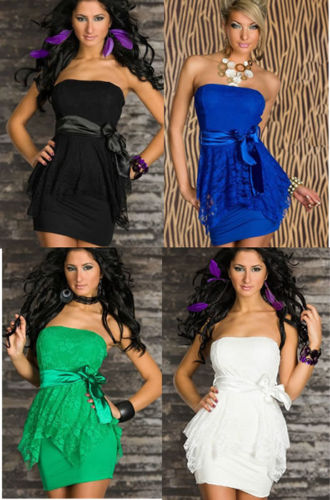 COWGIRL ATTITUDE DRESS Satin Bow Empire Waist Lace Overlay Lined Peplum Strapless Western Mini Dress