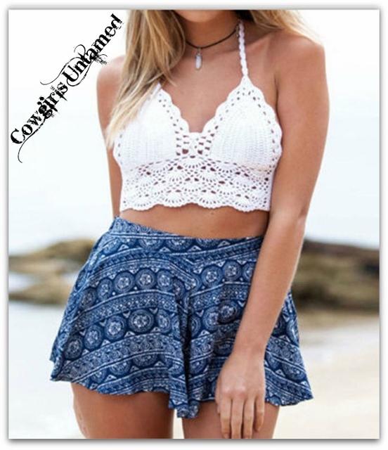 WILD FLOWER TOP Lace Crochet Padded Halter Top / Bikini Top