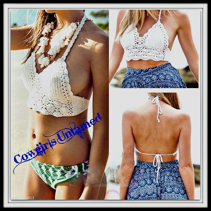 WILDFLOWER TOP Lace Crochet Padded Halter Top / Bikini Top