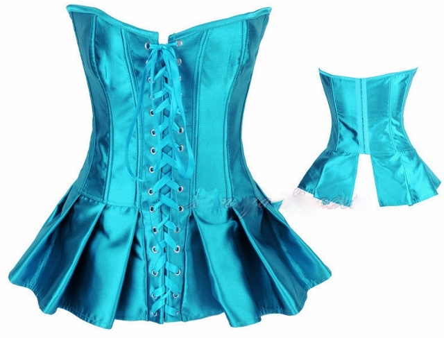 CORSET - COUNTRY COWGIRL Turquoise Satin Lace Up Front Peplum Western Corset Top