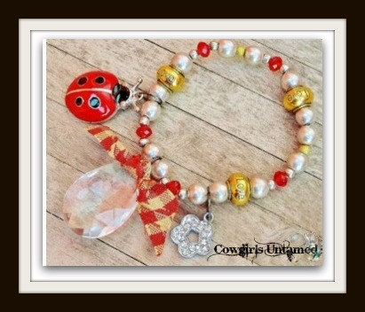 "COUNTRY COWGIRL BRACELET Antique Silver & Gold ""LOVE"" Large Crystal Red Ladybug Rhinestone Flower Multi Charm Western Stretch Bracelet"