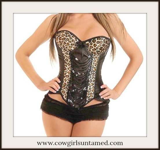 CORSET - Satin Leopard with Black Sequin Hook N Eye Closure Lace Up Back Corset Top