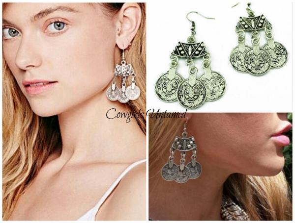 COWGIRL GYPSY EARRINGS Boho Silver Coin Dangle Earrings