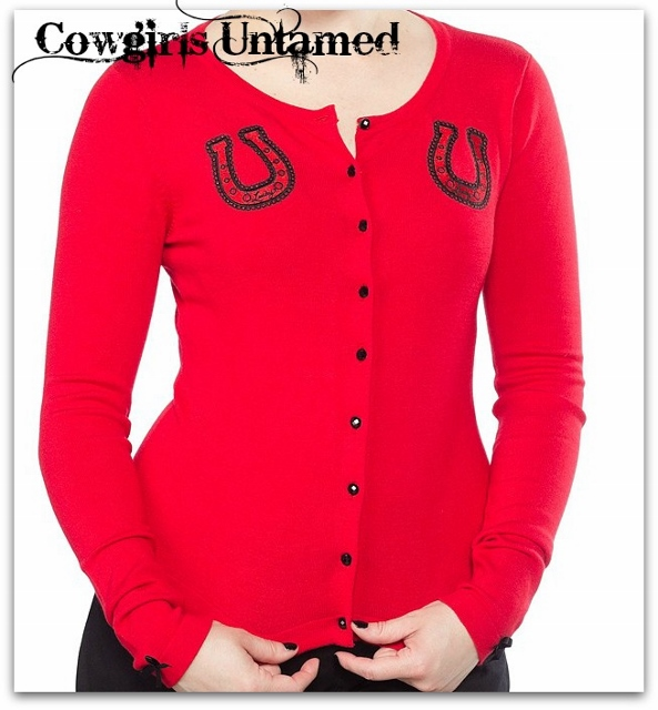 COWGIRLS ROCK SWEATER Embroidered Horseshoe Black Rhinestone Button Red Cardigan