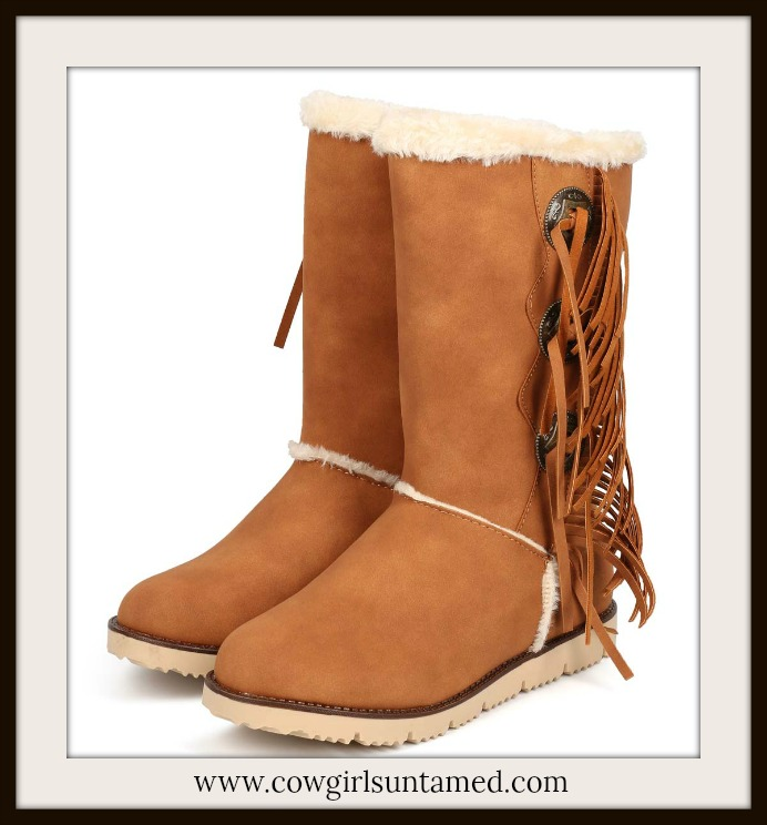 COWGIRL STYLE BOOTS Silver Concho and Fringe Tan Fur Lined Winter Boots