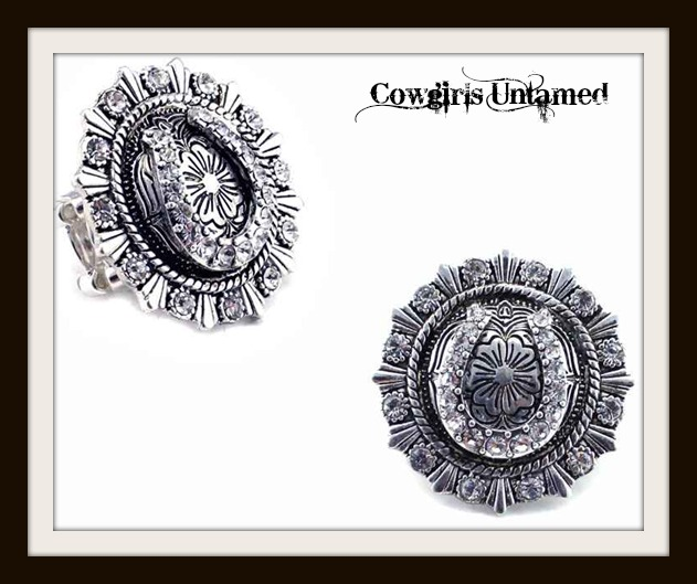 COWGIRL STYLE RING Silver Crystal Horseshoe Stretchy Western Ring
