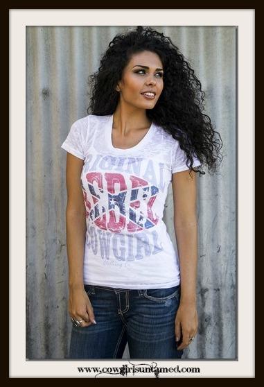 "COWGIRL ATTITUDE TEE ""Rebel Original"" Scoop Neck White Burnout T-Shirt"
