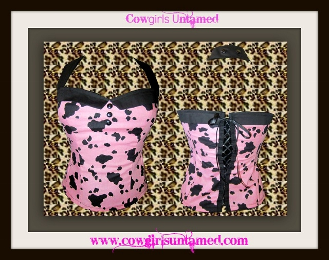 COUNTRY COWGIRL TOP Pink and Black Cow Print Halter Style Lace Up Back Lace Trim Corset Top