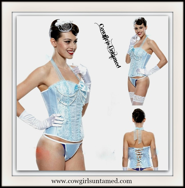 CORSET - Pearls on Pastel Blue & Chiffon Ruffle Halter Style Lace Up Corset Top