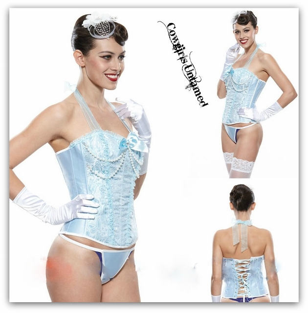 CORSET-COWGIRL GLAM Faux Pearls on Steel Boned Metallic Pastel Blue & Chiffon Ruffle Halter Style Lace Up Corset Top