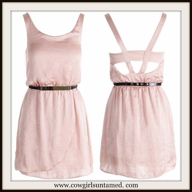 COWGIRL GLAM DRESS Peach Satin Sleeveless Open Back Lined Mini Dress FREE BELT