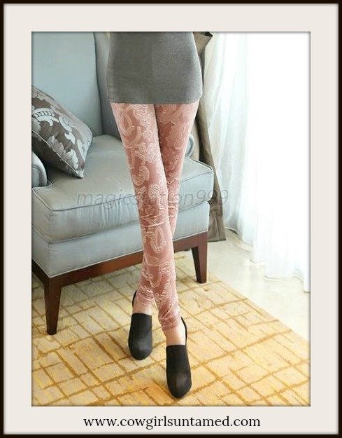 COWGIRLS ROCK LEGGINGS Pink Pleuche Velvet Stretchy Leggings Pants