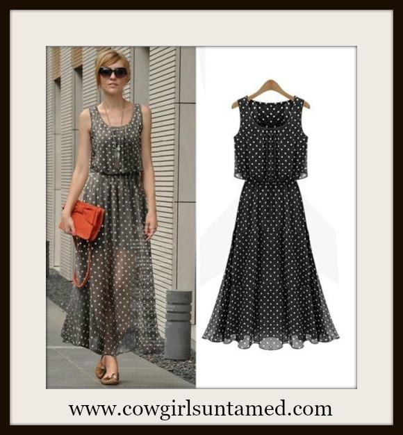 COWGIRL GLAM DRESS Grey OR Black White Polka Dot Flounce Semi Sheer Summer Dress