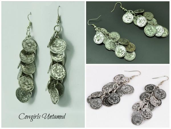 COWGIRL GYPSY EARRINGS Silver Coin Boho Gypsy Dangle Earrings