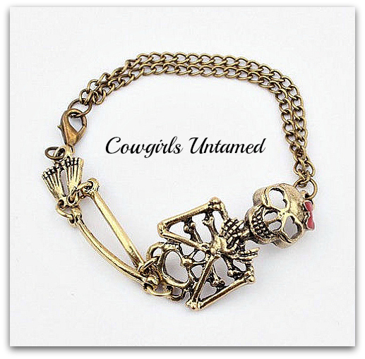 COWGIRLS ROCK BRACELET Vintage Clasp Chained Cute Skeleton Bow Bracelet