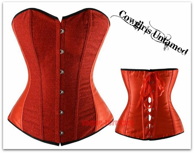 CORSET Red Glitter Lace Up Back Boned Corset Top