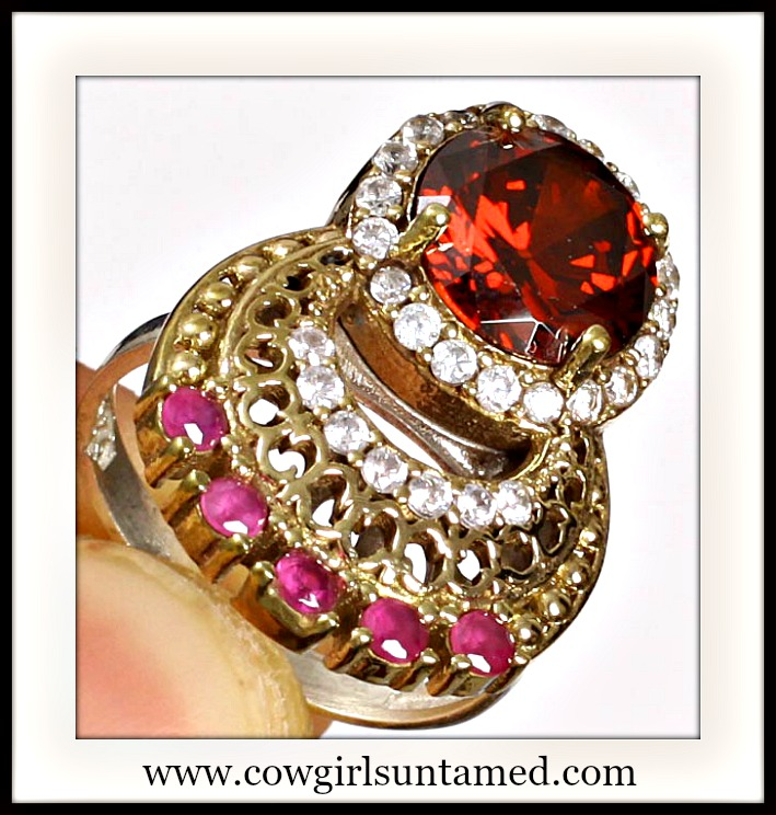 VINTAGE GYPSY RING Red Ruby Topaz .925 Sterling Silver and Bronze Ring