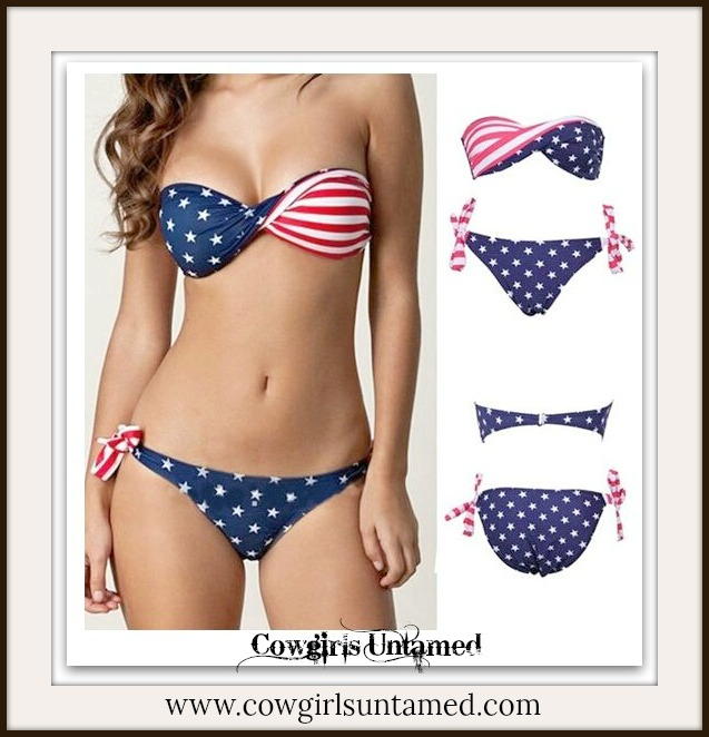 AMERICAN COWGIRL BIKINI Stars & Stripes Red White N Blue Bandeau Style Removable Straps Tie Back And Sides Western Bikini SET