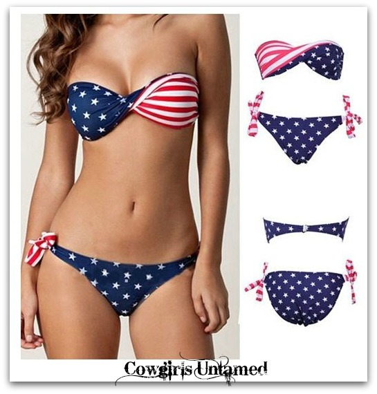 AMERICAN COWGIRL BIKINI Stars & Stripes Red White N Blue Bandeau Style Removable Straps Tie Back And Sides Western Bikini SET