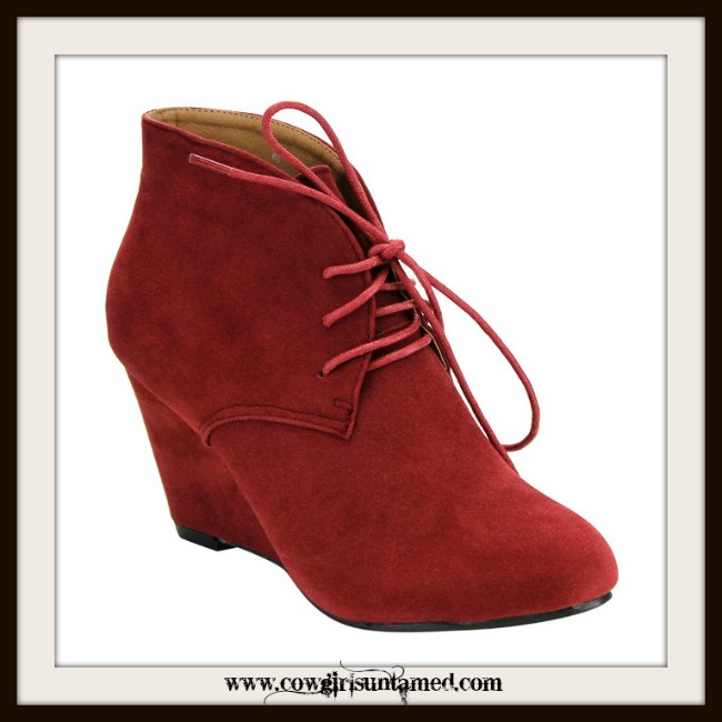 VINTAGE COWGIRL BOOTS  Lace Up Wine Faux Suede Vintage Style Ankle Booties