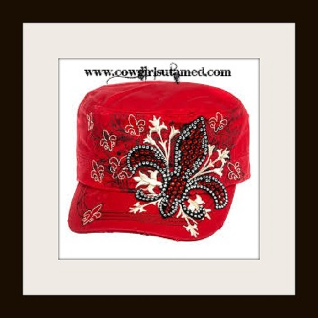 COWGIRL STYLE HAT Embroidered Rhinestone Fleur de lis on Red Western Cap