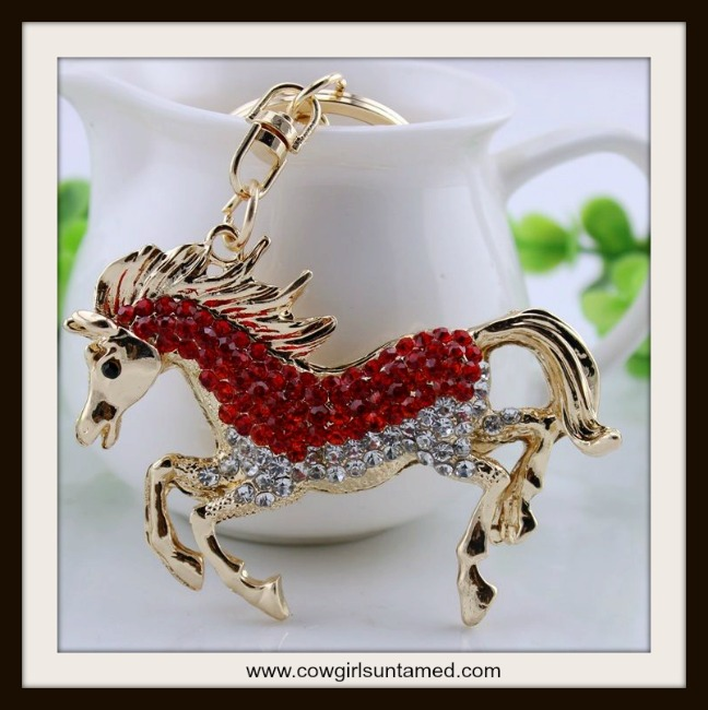 HORSE LOVIN' COWGIRL KEYCHAIN Beautiful Red Horse Crystal Keychain charm