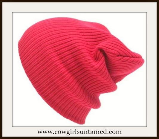 BEANIE CAP  Unisex Red Slouch Knit Beanie