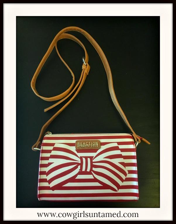 DESIGNER HANDBAG Red & White Striped Bow Leather Crossbody Bag