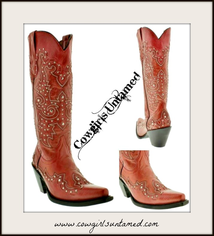 COWGIRL STYLE BOOTS Tall Silver Studded Overlay Snip Toe RED GENUINE LEATHER Western Boots