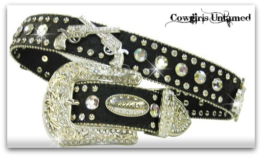 COWGIRL BELT Silver Crystal Sixshooter Pistol Rhinestone Studded & Silver Crystal Buckle on Black Leather Western Belt