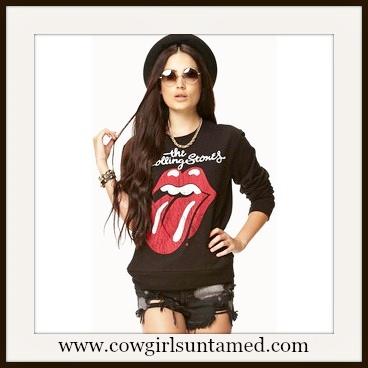COWGIRLS ROCK SWEATSHIRT The Rolling Stones Red Lips Sweatshirt Top