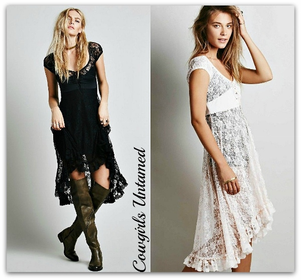 COWGIRL GYPSY DRESS Lace Hi Low Corset Bust Boho Dress