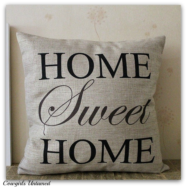 COWGIRL WESTERN PILLOW CASE Home Sweet Home Burlap Pillow Case