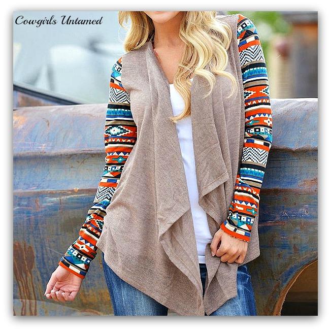 COWGIRL GYPSY CARDIGAN Tribal Color Knit Long Sleeve Western Cardigan