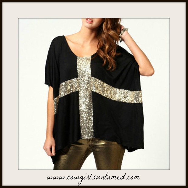 COWGIRL GLAM TOP Golden Sparkle Cross Black Batwing Oversized Top