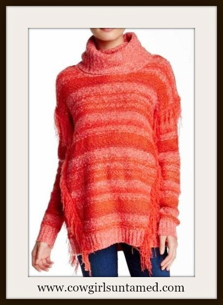 COWGIRL STYLE SWEATER Coral Orange Coral Striped Fringe Designer Sweater