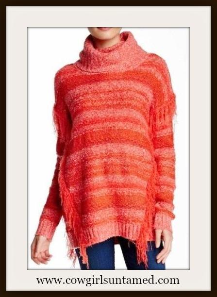 COWGIRL STYLE SWEATER Coral Orange Coral Striped Fringe Designer Sweater