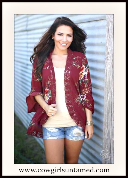 BOHEMIAN COWGIRL JACKET Floral Chiffon and Lace Trim Red Boho Jacket
