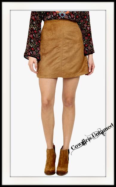 SANCTUARY SKIRT Camel Faux Suede A-Line Designer Mini Skirt