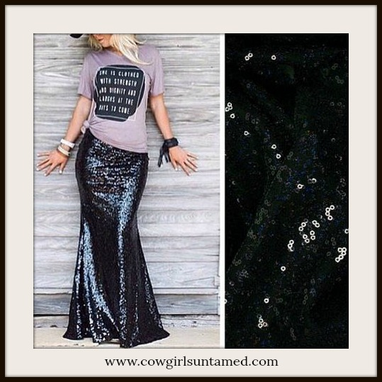 COWGIRL GYPSY SKIRT Sexy Black Sequin Long Maxi Skirt