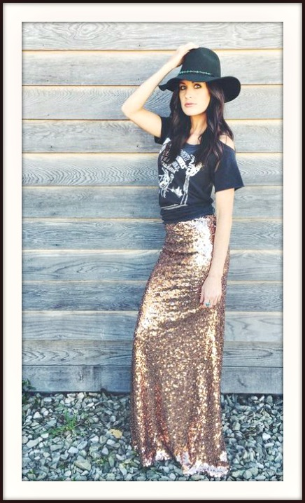COWGIRL GYPSY SKIRT Champagne Gold Sequin Long Maxi Skirt
