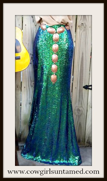 COWGIRL GYPSY SKIRT Holiday Green Sequin Long Maxi Skirt