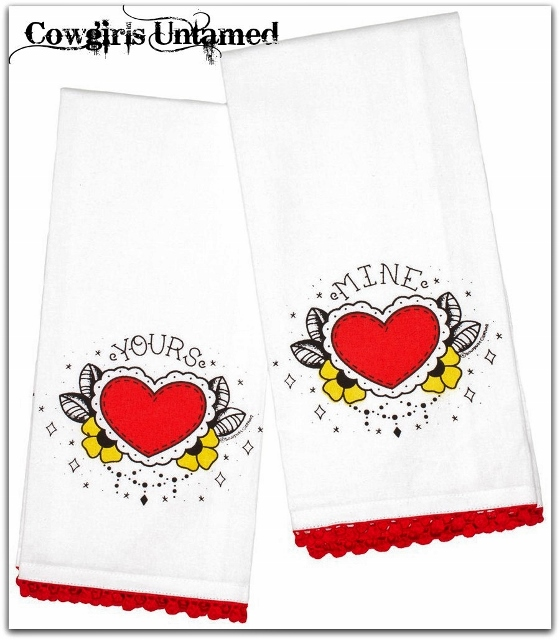 "COWGIRL STYLE DECOR ""Yours"" and ""Mine"" Tea Towel Set"