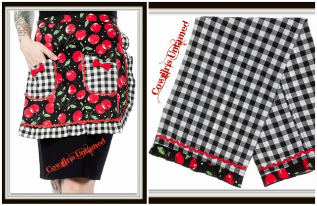 SOUTHERN BELLE HOME DECOR Black and White Checked Cherry Apron and Towel Kitchen Set