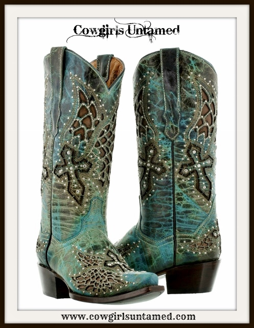 RODEO REBEL BOOTS Teal N Turquoise Silver & Rhinestone Studded Brown Underlay Cross Cowgirl Boots