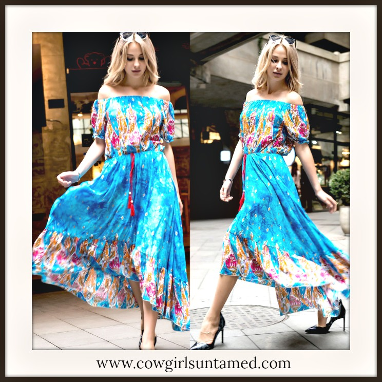 BOHEMIAN COWGIRL DRESS Aqua Turquoise Floral Paisley Off The Shoulder Maxi Dress