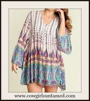 UMGEE PLUS SIZE DRESS V Neck Bell Sleeve Paisley Boho Designer Dress