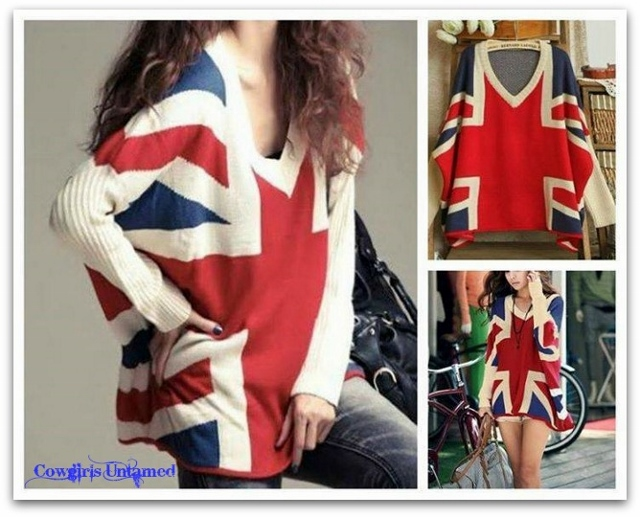 COWGIRL ATTITUDE SWEATER Red Blue Beige UNION JACK Flag V Neck Over Sized Sweater